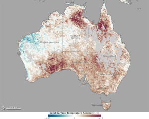 Temperature anomaly map of Australia from January 1-8, 2013. (Source: NASA)